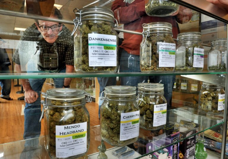 A man looking inside of a glass case of multiple marijuana jars inside of a Massachusetts Marijuana shop because they are allowed to sell marijuana and related products starting today, November 20, 2018.