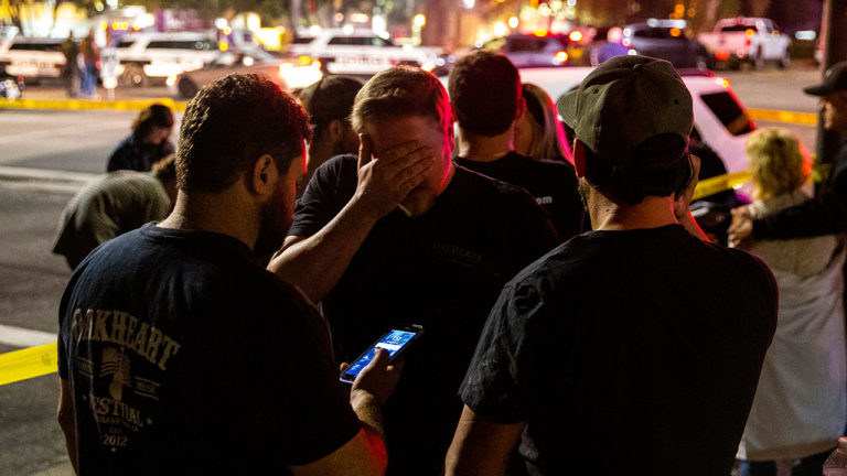 The aftermath of the mass shooting in California. Survivors gathered.